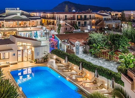 Overhead view of the Oscar Suites & Village hotel in Chania at night.