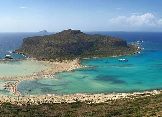 Overhead view of the Balos, a sandy lagoon with turquoise waters in Crete.
