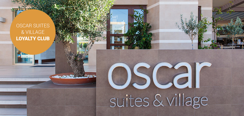 The Oscar Suites & Village sign at the hotel entrance in Platanias, Crete.