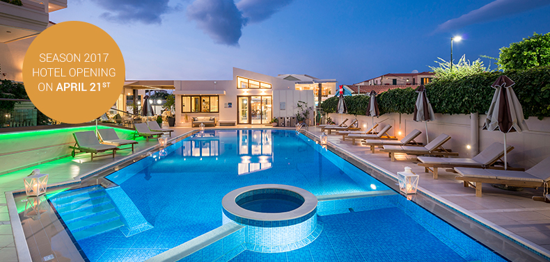 Sizeable swimming pool and comfortable sunbeds in Oscar Suites & Village in Chania.