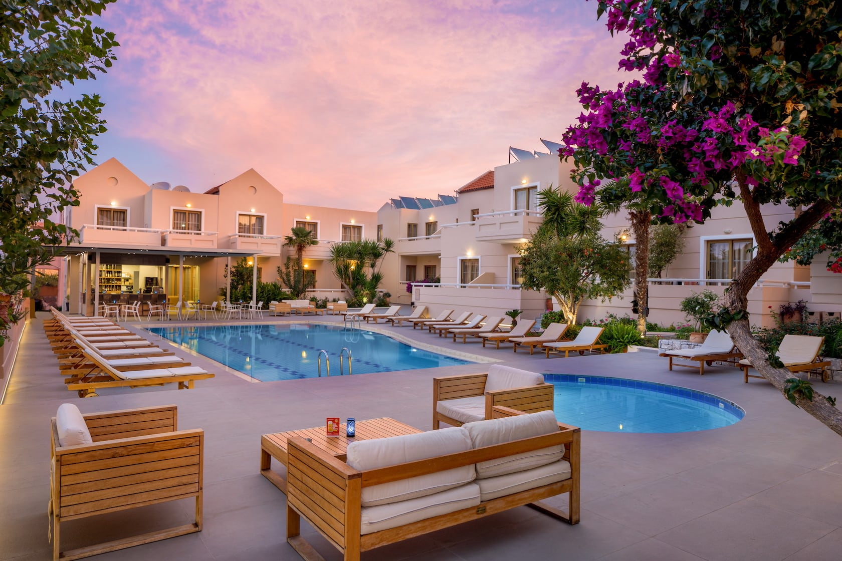 Evening at the area where two pools are located in the Oscar Suites & Village in Chania, Crete.
