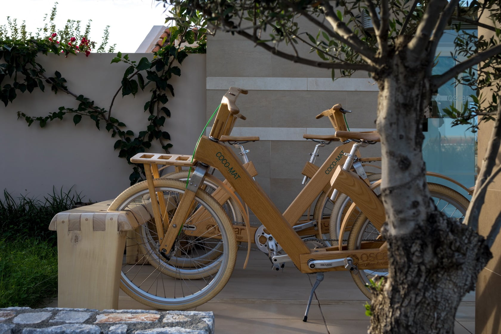 Wooden bicycles at the exterior of Oscar Suites & Village in Chania, Crete.