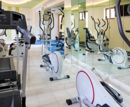 Fitness bikes and treadmills in the Gym of Oscar Suites & Village in Chania.
