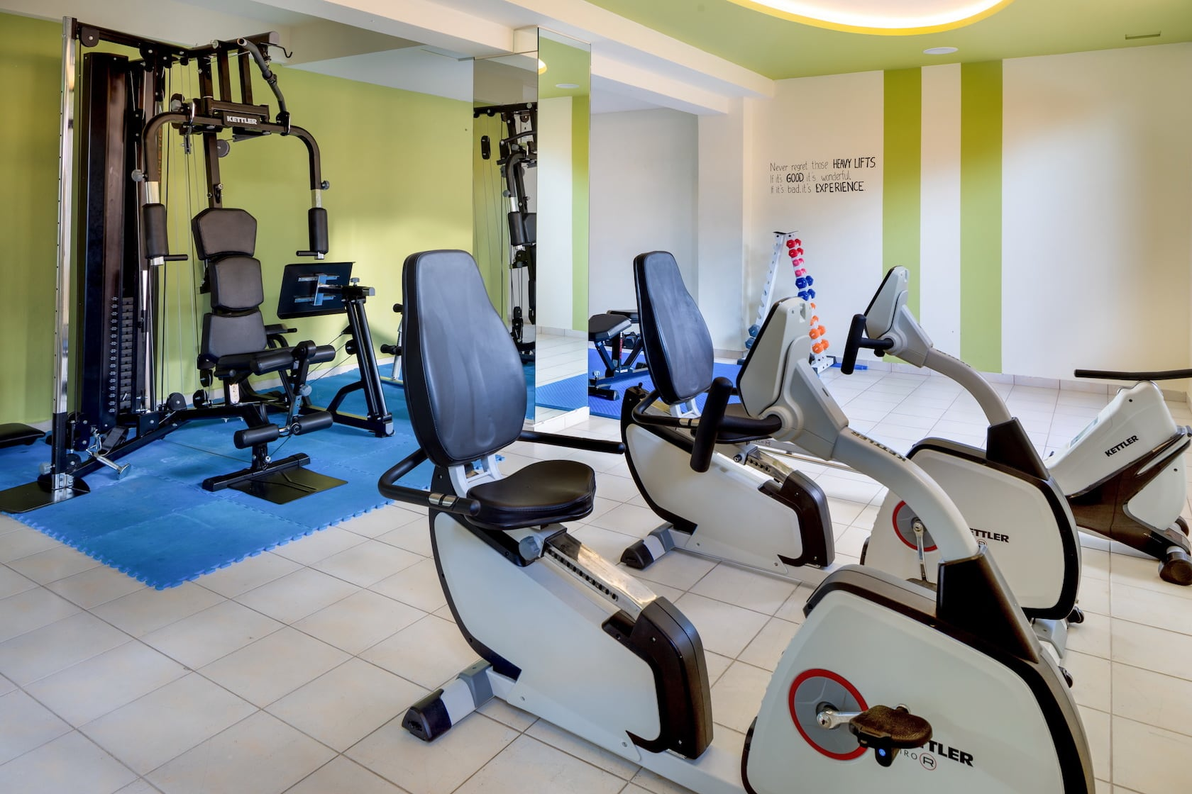 Fitness bikes in the Gym of Oscar Suites & Village Hotel in Chania.