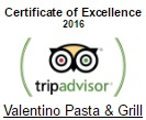 Valentino Pasta & Grill Restaurant in Chania, winner of TripAdvisor Certificate of Excellence 2016