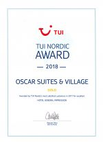 TUI Nordic 2018 Award for Oscar Suites & Village Hotel in Chania.