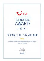 TUI Nordic 2018 Gold Award for Oscar Suites & Village Hotel in Chania.